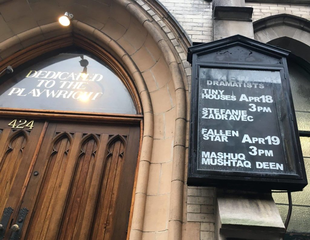 """The front door of """"New Dramatists"""" with marquee advertising """"Fallen Star"""""""