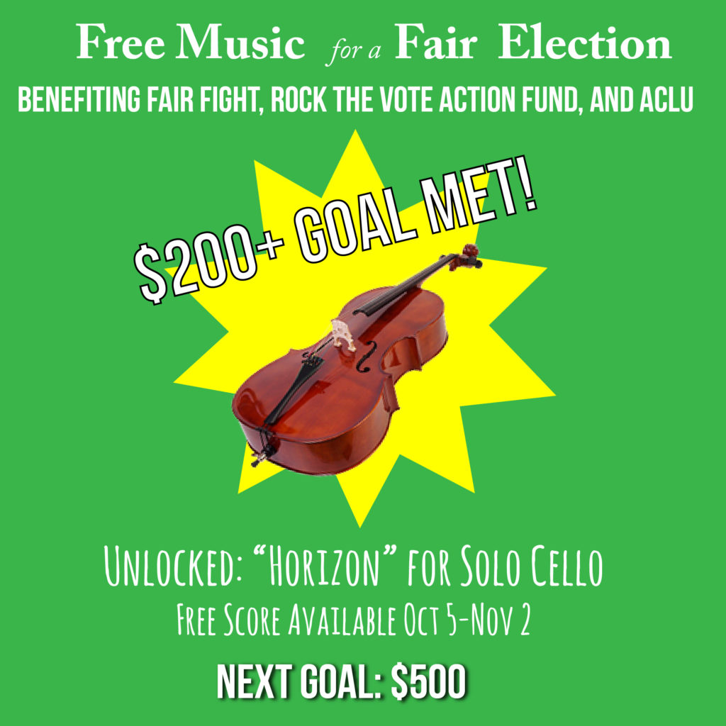 """""""$200+ Goal Met!"""" with picture of cello over yellow starburst"""