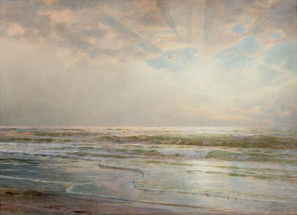 Painting of ocean, sky, and horizon with bright, pale light